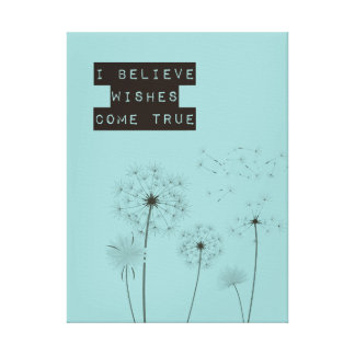 Believe in Wishes Dandelions Canvas Print