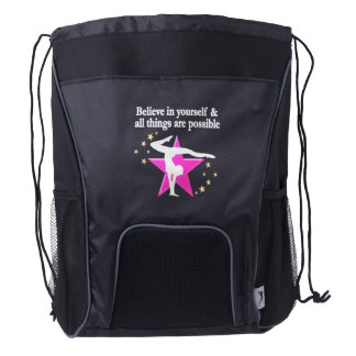 BELIEVE IN YOUR GYMNASTICS GOALS AND DREAMS DRAWSTRING BACKPACK