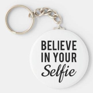 Believe in your selfie, word art, text design keychain