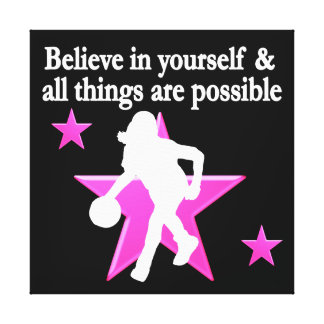 BELIEVE IN YOURSELF BASKETBALL STAR CANVAS PRINT