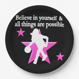 BELIEVE IN YOURSELF BASKETBALL STAR PAPER PLATE