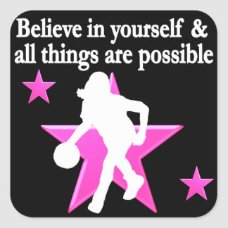 BELIEVE IN YOURSELF BASKETBALL STAR SQUARE STICKER