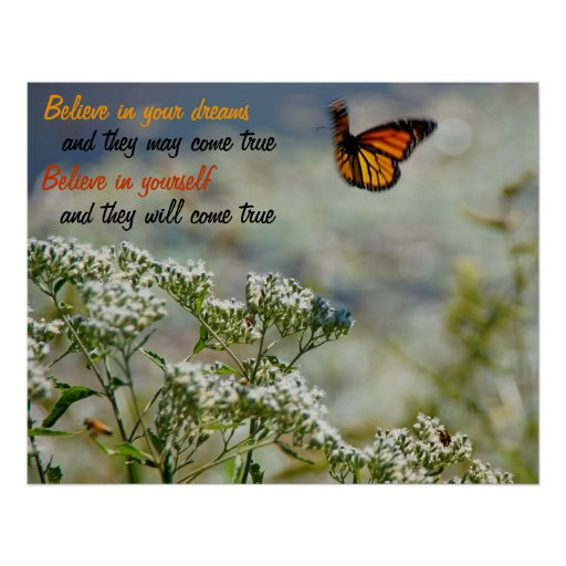 Believe in Yourself Butterfly Motivational Poster