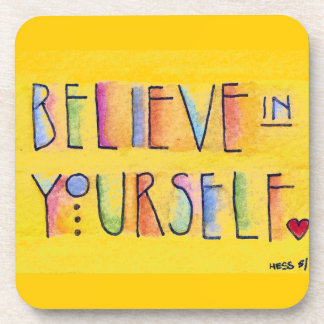 Believe in Yourself cork coasters