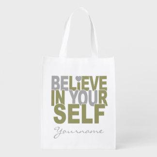 BELIEVE IN YOURSELF custom reusable bag Reusable Grocery Bag
