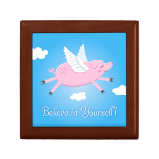 Believe in yourself flying pig cartoon gift box
