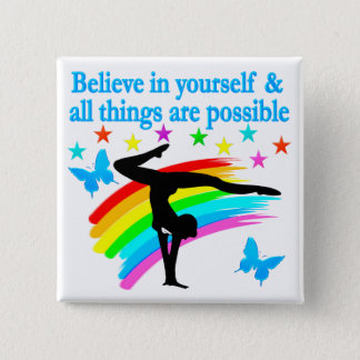 BELIEVE IN YOURSELF GYMNASTICS QUOTE BUTTON