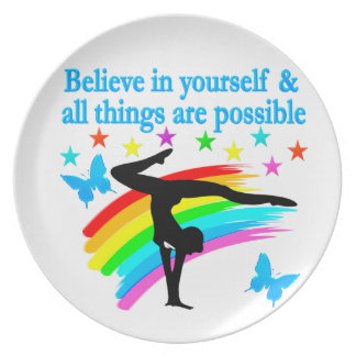 BELIEVE IN YOURSELF GYMNASTICS QUOTE MELAMINE PLATE
