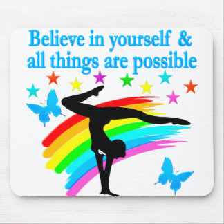 BELIEVE IN YOURSELF GYMNASTICS QUOTE MOUSE PAD