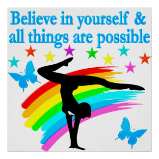 BELIEVE IN YOURSELF GYMNASTICS QUOTE POSTER
