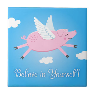 Believe in yourself quote flying pig tile/gift box tile