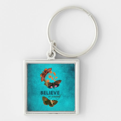 Believe In Yourself Silver-Colored Square Keychain