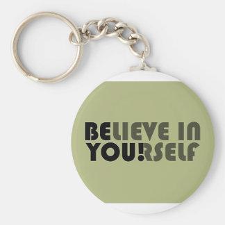 believe in yourself star basic round button keychain