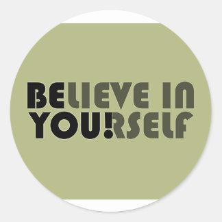 believe in yourself star classic round sticker