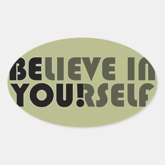 believe in yourself star oval sticker
