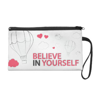 believe in yourself typography and illustration wristlet