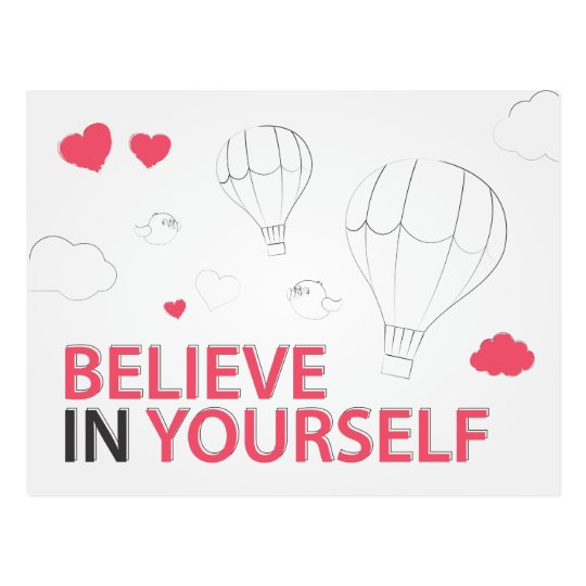 Believe in yourself typography and illustration postcard