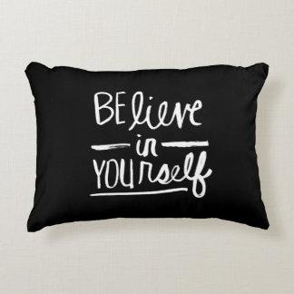 Believe In Yourself | White Brush Script style Accent Pillow