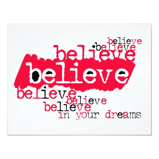 Believe in yr dreams (red/black) personalized invitations