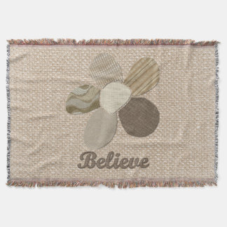 Believe Inspirational Flower Fabric Collage Throw
