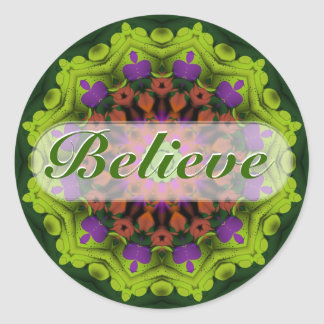 Believe : Inspirational : Geometric Mandala Art Classic Round Sticker