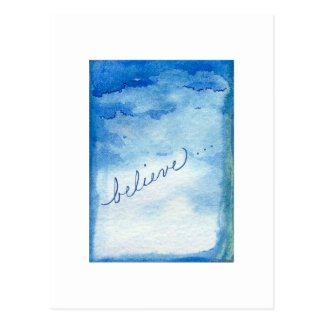 Believe Inspirational Watercolor Painting Postcard