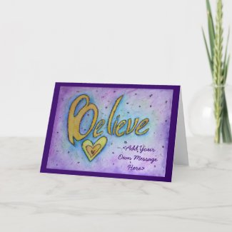 Believe Inspirational Word Art Greeting Cards