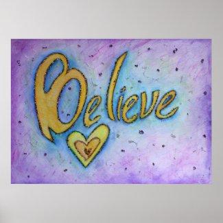 Believe Inspirational Word Art Painting Print