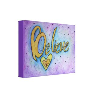 Believe Inspirational Word Painting Canvas Art
