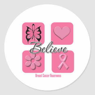 Believe Inspirations Breast Cancer Classic Round Sticker