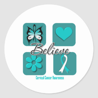 Believe Inspirations Cervical Cancer Classic Round Sticker