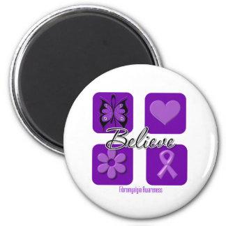 Believe Inspirations Fibromyalgia Awareness 2 Inch Round Magnet
