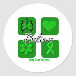 Believe Inspirations Green Ribbon Kidney Cancer Classic Round Sticker