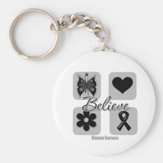 Believe Inspirations Melanoma Basic Round Button Keychain