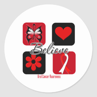 Believe Inspirations Oral Cancer Classic Round Sticker