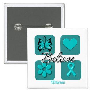 Believe Inspirations PCOS Awareness Pinback Button
