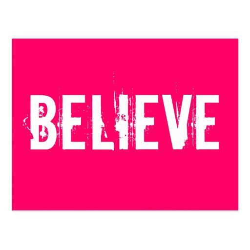 Believe - Inspire, Motivate, Pink Postcards