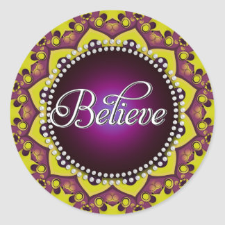 Believe : Inspire : Purple Yellow Mandala Circle Classic Round Sticker