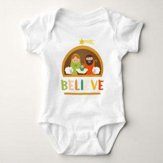 Believe Jesus Christ Nativity Manger Christmas Baby Bodysuit