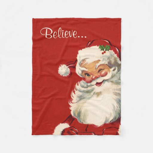 Jolly Vintage Santa Fleece Blanket