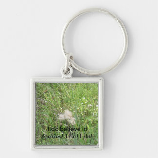 Believe Silver-Colored Square Keychain