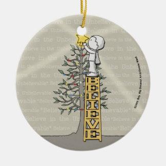 Believe Ladder -Christmas Tree Ceramic Ornament
