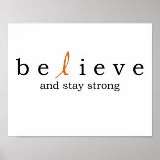 Believe Leukemia Cancer Poster