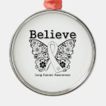 Believe - Lung Cancer Butterfly Christmas Ornaments