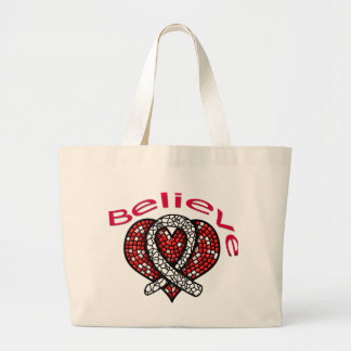 Believe Lung Cancer Jumbo Tote Bag