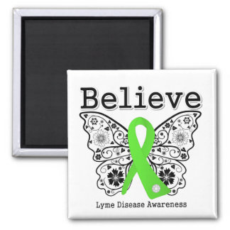Believe Lyme Disease Awareness 2 Inch Square Magnet