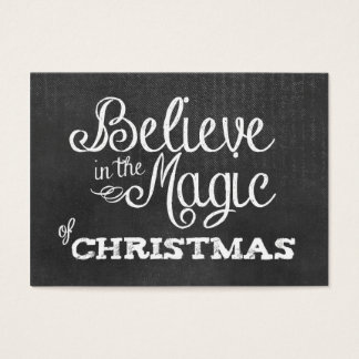 believe magic of Christmas Chalkboard Business Card