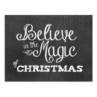 believe magic of Christmas Chalkboard Postcard