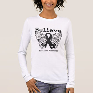 Believe - Melanoma  Butterfly Long Sleeve T-Shirt