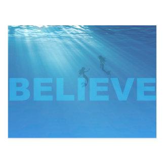 BELIEVE. Mermaids Exist Postcard